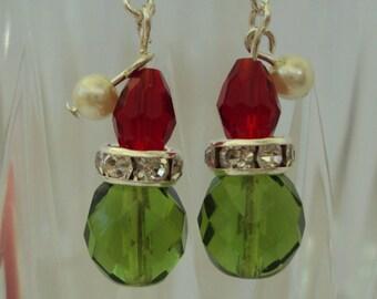 Crystal Grinch Christmas Earrings
