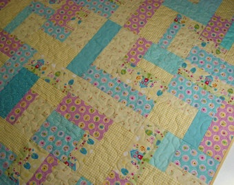 Pastel Baby Quilt, Spring Easter Quilted Throw, Yellow Blue Pink Scrappy Lap Quilt, Quiltsy Handmade