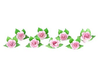 Porcelain Roses Place Card Holders, S/8 - Pink & Green
