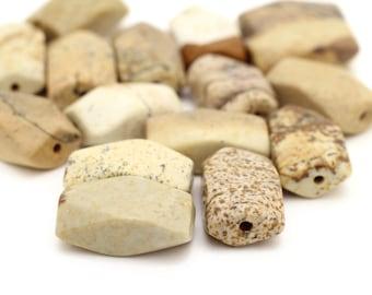Genuine Large Facet Beige Stone Color Agate Stones Beads 5x9x15mm 6pcs