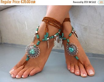 SALES-20% DIONA, Barefoot Sandals, Beach Jewelry,  gemstones Hippie Sandals, Foot Jewelry,  festival accessories, yoga toe, anklet