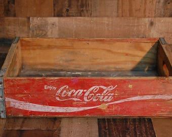 Vintage Red Coke Crate 1966, nice vintage Coke soda crate 16 oz bottles, nice bright red color, displays well