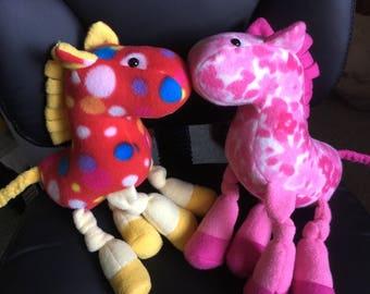 Handmade Fleece Knotted-legs Pink Pony