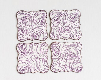Wooden coasters, decoupage coasters, floral coasters, roses coasters handmade, home decor, gift ideas, set of 4, gift for her, wood coaster