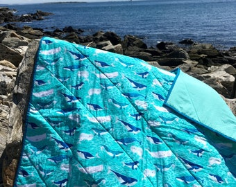 Whale Quilt, Whole Cloth Quilt, Ocean, Nautical Quilt, Kids Quilt, Baby Gift, Baby Blanket,