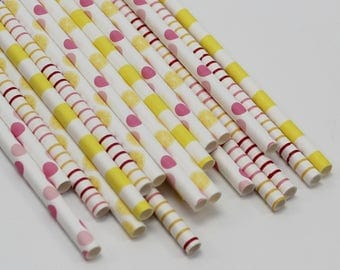 Girl First Birthday, Pink and Yellow Paper Straws, Lemon Party Decor, Citrus Bridal Shower, Lemonade Party Supplies, Lemon Baby Shower