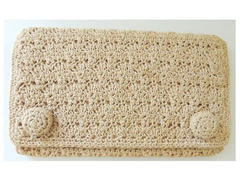Vintage 70s Purse/70s Wallet/Vintage Clutch/Crocheted Bag/Crocheted Purse/Vintage Wedding/Boho Purse/Hippie Purse/Hippy Purse/Vintage Purse