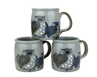 Three Owl Coffee Mugs 10 oz | Vintage Coffee Cups • 1970s • Ceramic Mugs • Spotted Owls • Kitchen Owls - Rustic Decor