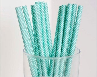 ON SALE - 15% OFF 25 Light Blue Turquoise and White Striped Paper Straws - Additional Items Ship Free!!!