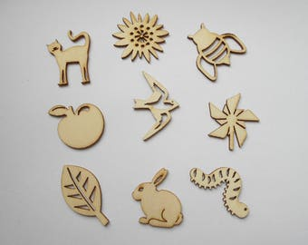 wooden figurines wooden nature theme, nine insects 9 embellishments