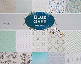 """Lot 15 sheets duplex 30, 5 x 30, 5 cm """"Blue OASIS"""" scrapbooking"""