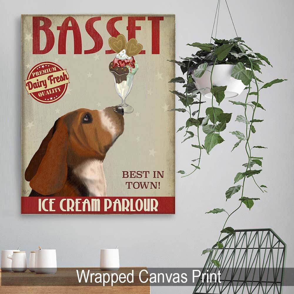 Wonderful Kitchen Decor Basset Hound Ice Cream Dog  Kitchen Signs Kitchen Wall Decor  Kitchen Print