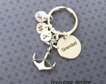 Personalised Grandad keyring - Anchor keyring - Birthday gift for Grandad - Anchor keychain - Nautical Grandad gift - Stocking filler - UK