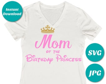 INSTANT DOWNLOAD Pink and Gold Mom of the Birthday Princess / Printable Iron On Transfer / SVG Cutting File / Shirt / Item #2349