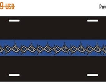15% OFF SALE Thin Blue Line Barbed Wire Metal License Plate SKU: Lp008-Mtl