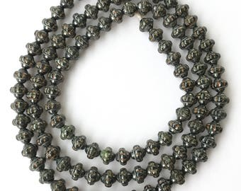 101 Trade Czech Grey Melberry with Luster Glass beads