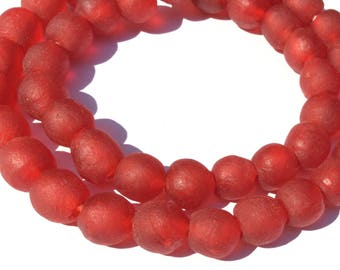 44 Transparent matte Red Ghana Round Krobo Recycled Glass African trade beads