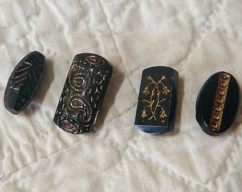 4 Oblong Old Black Glass Buttons With Gold Trim