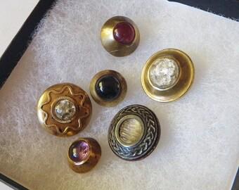 6 Victorian Jewels Glass in Brass 1850s