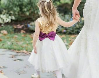 Gold and Purple flower girl's dress, gold sequined and white tutu dress, purple and gold dress for little girl