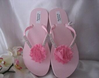 Bling Rhinestone Pink Flip Flops with Pink Satin Ribbon & Pink Chiffon Shabby Flower, Bridal, Bridesmaid, Beach, Sandal, US size 8 Handmade