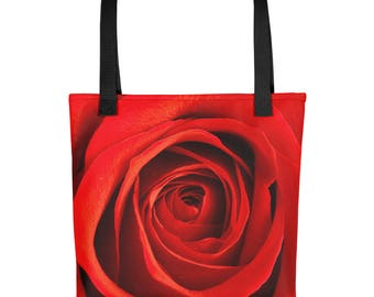 Red Rose Tote bag - 15 X 15 with red or black handle