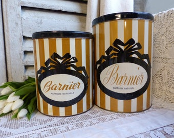 Set of 2 French large candy tins. Gold white stripe. Black ribbon Striped sweets tin. Vintage storage tin Jeanne d'arc living. French Nordic