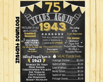 Gold 75th Birthday Chalkboard 1943 Poster 75 Years Ago in 1943 Born in 1943 75th Birthday Gift INSTANT DOWNLOAD
