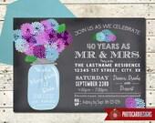Chalkboard Anniversary Invitation, Anniversary Invitation, 30th, 40th, 50th, Anniversary, typography, Mason Jar, Bridal, Digital. invite