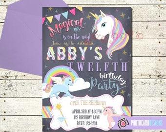 Unicorn Birthday Invitation, Unicorn Invitation, Unicorn Birthday, Invitation, Unicorn Party, Rainbow, Magical, Digital, invite, Party