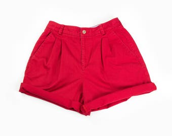 90s Red High Waist Shorts
