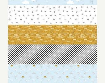 SALE Blue Sparkle Stripe Skies - 1 Yard - Riley Blake Designs/When Skies Are Grey/Simple Simon & Co/SC5601-Blue/Sparkle Gold Blue Stripe