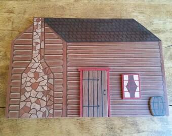 Vintage Wooden Log Cabin Wall Hanging, Miniature 3D House Sculpture