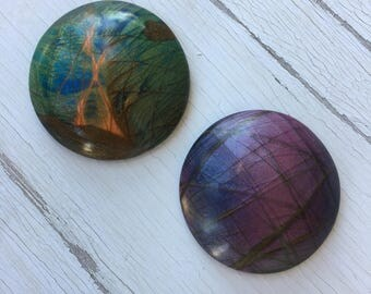 FAUX LABRADORITE Polymer Clay 3.25cm Circle Gemstones - Choose One