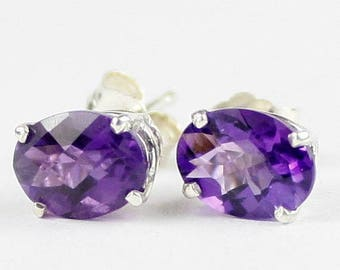 On Sale, 20% Off, Amethyst, 925 Sterling Silver Post Earrings, SE102