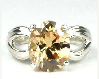 On Sale, 30% Off, Champagne CZ, 925 Sterling Silver Ladies Ring, SR361