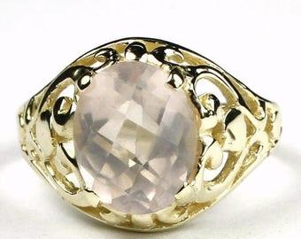 On Sale, 30% Off, Rose Quartz, 18KY Gold Ring R004