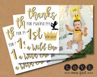 Where the Wild Things Are Photo Thank You Card Printable - black, white, gold, typography, crown, max, silhouette, Wild One, I'll eat you up