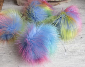 10 Faux fur Pom Pom, Vegan Extra long fur. Detachable Rainbow Ball Ready to send