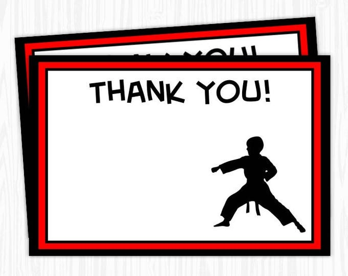 Karate Boy 4x6 Thank You Card, Printable DIY, You print, You cut, INSTANT DOWNLOAD