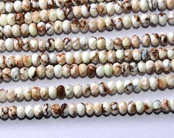 13 Inch 3.5mm Natural Shaded Lemon Chrysoprase Faceted Rondelle Beads-Chrysoprase Rondelle Beads Strand(8105-09)