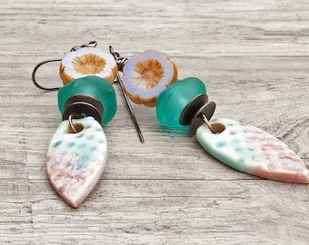 Porcelain dagger flower earrings in pastels rustic ceramic lampwork glass artisan jewelry- Majoyoal- ClassySassy- WinterBirdSudio
