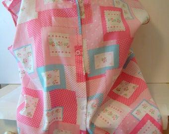 Pink cotton smock apron, Smock apron, vintage smock apron