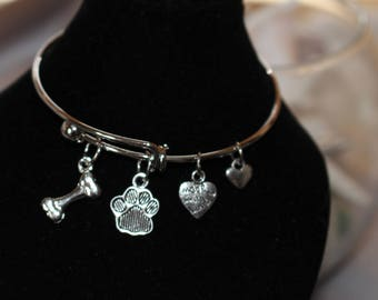 Best Friend - Silver Adjustable Bracelet with Paw Print/Dog Bone/Heart Charms