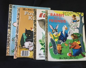 Set of 4 Vintage Golden Book Animal Children's Books, When Bunny Grows Up, Rabbit and Friends, The Saggy Baggy Elephant, Four Little Kittens