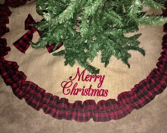 "Red and Black Ruffle Christmas Tree Skirt, Burlap Tree Skirt, Personalized Tree Skirt, 50"" Tree Skirt, 60"" Tree Skirt, 72"" Tree Skirt"