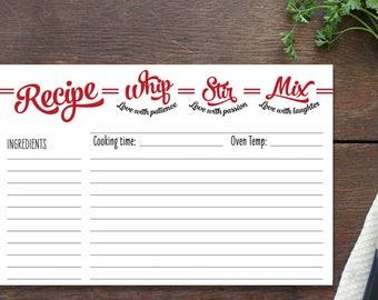 Recipe Card insert for our recipe book