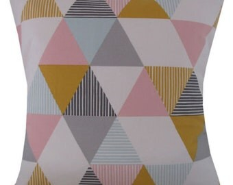 Designer pastel geometric sorbet pink mustard luxury hotel home decor cushion cover 16 , 18 , 20 , 22 , 24 ""