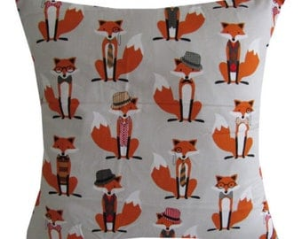 Handmade Mr Fox pocket watch vintage grey cushion cover