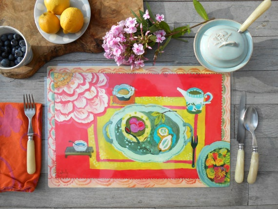 Reversible laminated placemats by Kimberly Hodges, farmhouse decor, modern farmhouse, table mats, rustic tabletop, kitchen decor